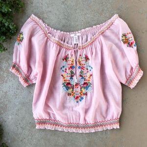 Joie Pink Boho Floral Embroidered Off Shoulder Top